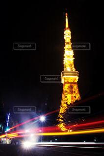 クロック タワーは夜ライトアップの写真・画像素材[1114810]