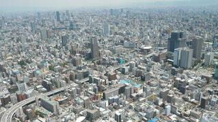 大阪市内難波周辺の空からの眺めの写真・画像素材[3997581]