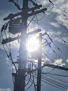 逆光の電柱の写真・画像素材[4731484]