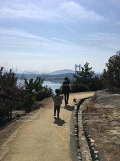 海の見える丘を散歩する二人と犬の写真・画像素材[1114824]