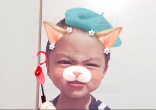 猫顔の男の子の写真・画像素材[1117045]