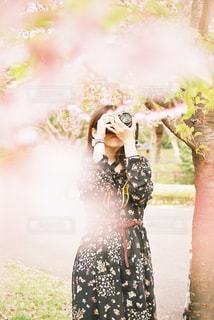 花を撮る人の写真・画像素材[1117705]