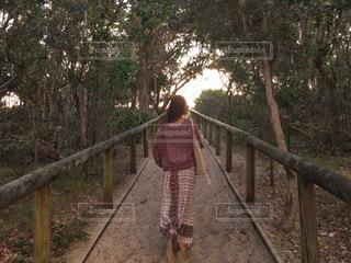 フェンスの前に立っている人の写真・画像素材[1121704]