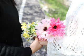 ピンクの花を持つ女性の写真・画像素材[1116938]