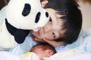 赤ちゃんのベッドの上でぬいぐるみを保持 - No.1223965
