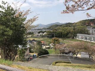 柳井茶臼山古墳から見下ろした柳井市街の風景の写真・画像素材[1118656]