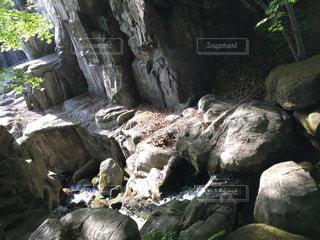 近くに大きな岩のアップの写真・画像素材[1140776]