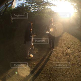 夕陽に向かっての写真・画像素材[2381488]