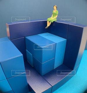 青い箱の上に座っている鳥の写真・画像素材[2761862]