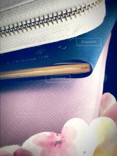 上から財布・手帳・ポーチ・シュシュの写真・画像素材[1124579]