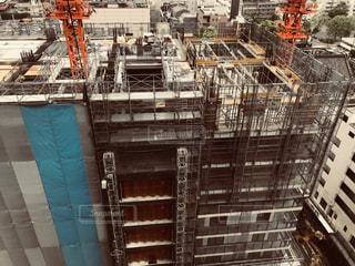 上から見た建設中のマンションの写真・画像素材[1142524]