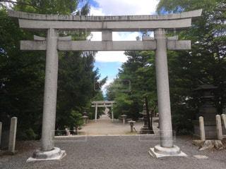 神社の鳥居の眺め 北海道小樽市住吉神社の写真・画像素材[1129744]