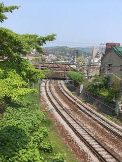 電車が来る前の線路の写真・画像素材[1130042]