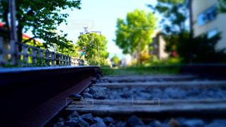 水平線続く線路の写真・画像素材[1269557]