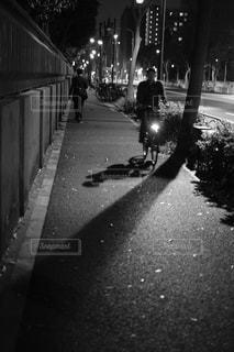 夜道で自転車に乗る人の写真・画像素材[1130465]