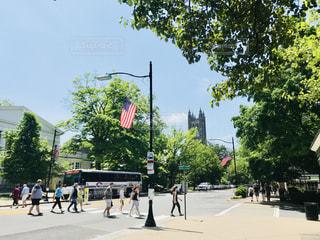 プリンストン大学前の通りと星条旗 - No.1244786