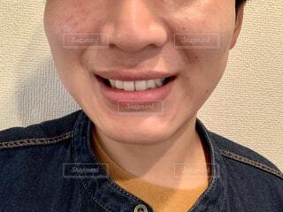微笑み 口元アップの写真・画像素材[4314904]