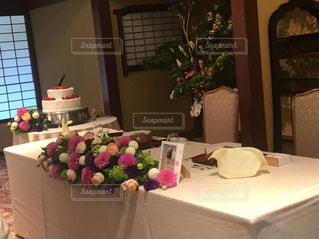 披露宴会場のテーブル飾りの写真・画像素材[1149832]