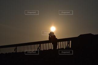 夕暮れ時の太陽と自分の写真・画像素材[1154228]