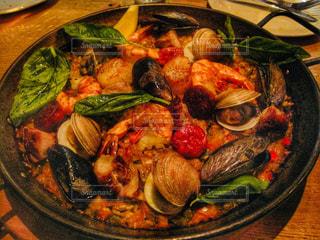 テーブルの上に食べ物のプレートの写真・画像素材[1188369]