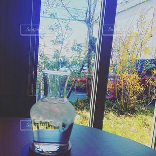 窓の前に座って花瓶の写真・画像素材[1732072]