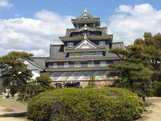 岡山城とマスキングテープのコラボの写真・画像素材[1163035]