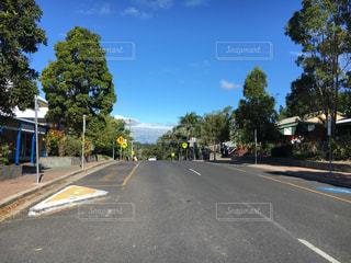 通り側の木と空の道の写真・画像素材[1162789]