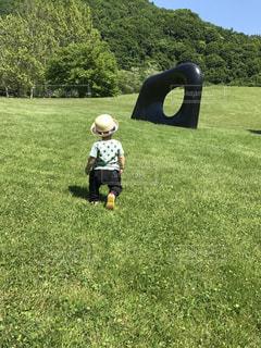 草の中に立っている小さな男の子の写真・画像素材[1167694]