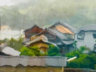 窓から見た台風の写真・画像素材[1432255]