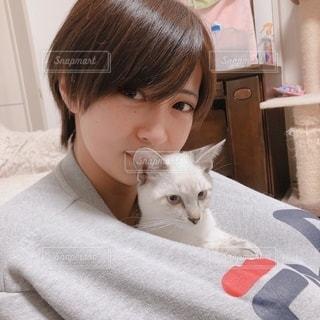 猫を抱いている人の写真・画像素材[2784725]