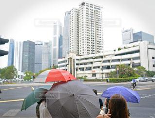 カラフルな傘が雨模様の風景も鮮やかにの写真・画像素材[1172943]