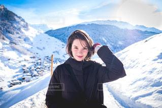 雪景色ポートレートの写真・画像素材[1691926]