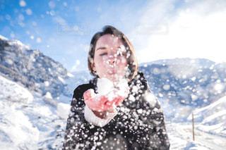 雪景色を堪能中の写真・画像素材[1691968]