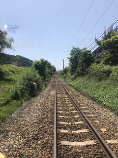 直線の線路の写真・画像素材[1173843]