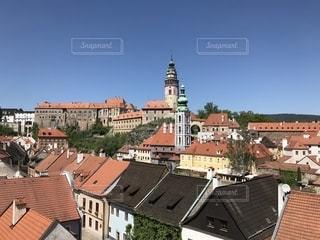 Český クルムロフの屋根の写真・画像素材[1174722]