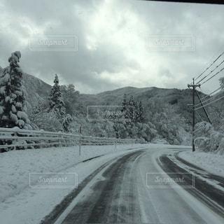 雪に覆われた道路の横にある線路下を走行する列車の写真・画像素材[1196427]