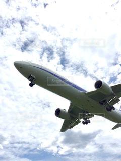 曇りの青い空を飛んでいるジェット大型旅客機の写真・画像素材[1280888]
