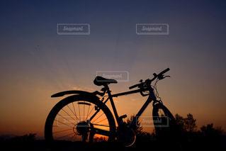 夕日と自転車の写真・画像素材[1183099]