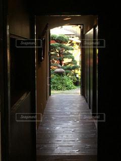 廊下の窓から中庭を望むの写真・画像素材[1183192]