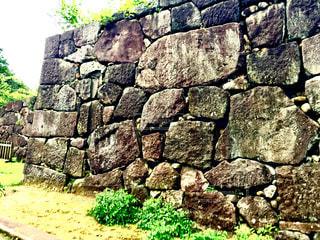 石垣の岩や石の写真・画像素材[1380247]