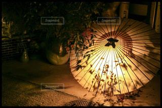 近くの暗い夜に傘をの写真・画像素材[1184968]
