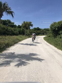 竹富島のレンタサイクルで子どもを乗せてサイクリングの写真・画像素材[1198055]