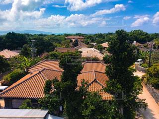 展望台から見た竹富島の集落の写真・画像素材[1208615]