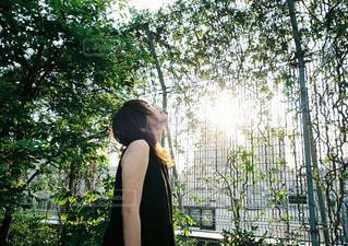 フェンスの前に立っている女性の写真・画像素材[765039]