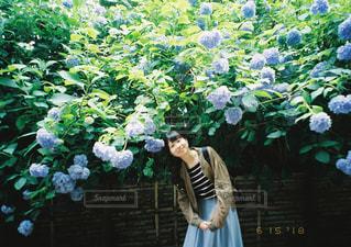 庭に立っている人の写真・画像素材[1588709]