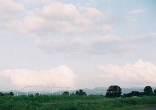緑の野原の上空の雲の写真・画像素材[2425841]