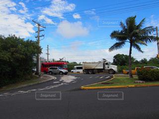 ヤシの木の横の通りを運転トラックの写真・画像素材[1200941]