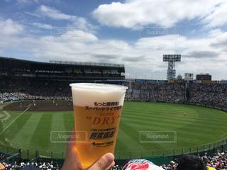 生ビール片手に観戦の写真・画像素材[1367062]