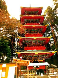 おもちゃっぽい五重の塔の写真・画像素材[1205225]