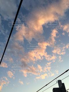 曇り青空の前の交通信号の写真・画像素材[1206856]